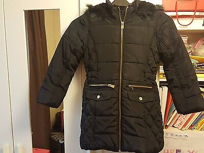 Girls winter coat jacket hooded age 7-8 years DARK BLUE PERFECT CONDITION
