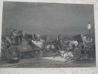 1841 ENGRAVING A SMASH IN PICCADILLY BRISTOL ROYAL MAIL & CAB Engraved by Scott