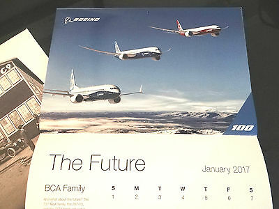 RARE Boeing Wall Calendar 100 Years of Airplanes Aircraft 787 737 DC3 Dreamliner