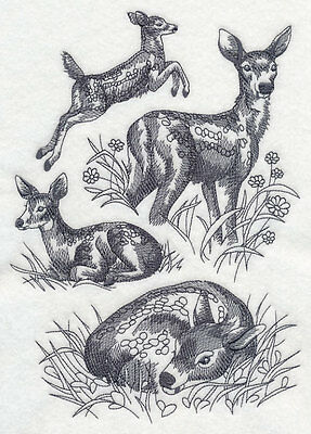 Embroidered Spring deer sketch quilt block,fabric,cushion panel,gift,easter