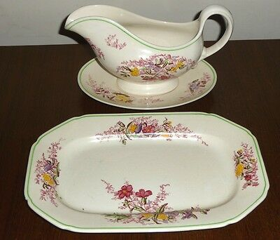 """Copeland Spode """"Fairy Dell"""" gravy boat, saucer and under-dish"""