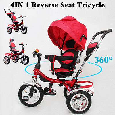 FUWALE 4 IN 1 Reverse Seat Kids Tricycle Baby Toddler Stroller Trike Bike Prams