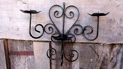 Vintage Wrought Iron Wall Sconce Home & Garden Triple Pillar Candle Holder Light