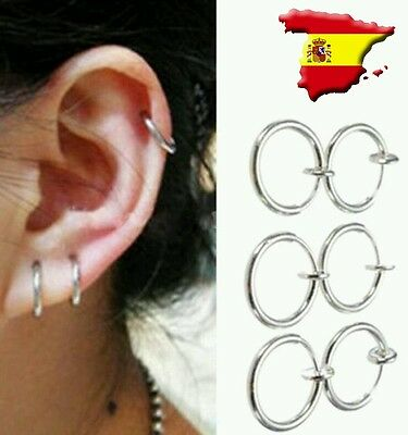 Fake Piercing falso Forma de aro Clip On 10mm Nariz Oreja Septum Ear Nose Lip