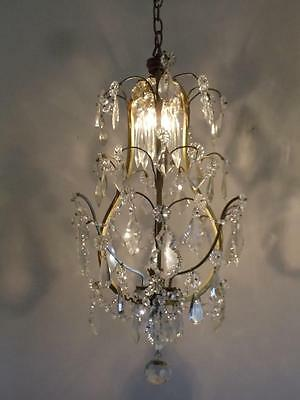 Antique French Shabby Vtg Chic Cage Brass & Crystal Chandelier Hanging Lamp