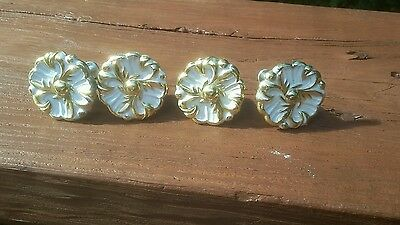 Lot of 4 Vintage French White Cabinet Drawer Pull Handle Knobs 8 RDCA Dated 1960