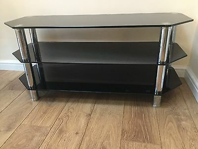 Black Glass TV Stand LCD LED Up to 55' Screen Bargain