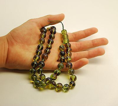 Islam Prayer Beads السبح الإسلام Green Caribbean Amber 45 Round 10 mm Diameter