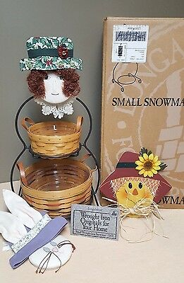 Longaberger Small Wrought Iron Snowman With 2 Baskets & Protectors + 3 Faces-EUC