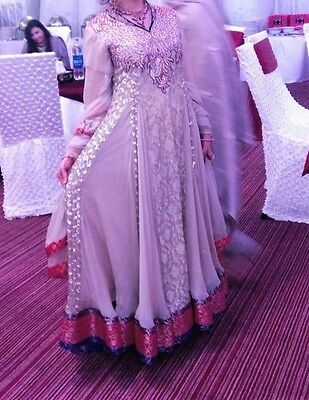 Ladies Designer Pakistani Wedding Dress Trouser Long Frock Size Small UK