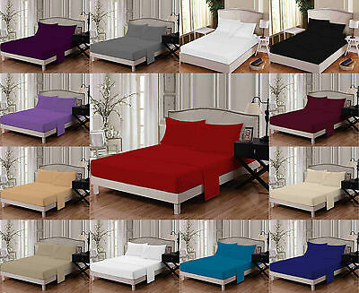 LUXURY Flat Bed Sheet With Pillow Cases T180  Non Iron Percale easy care Bedding