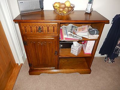 Solid Light Oak Old Charm Jaycee Style Bookcase With Side Cabinet and Drawer