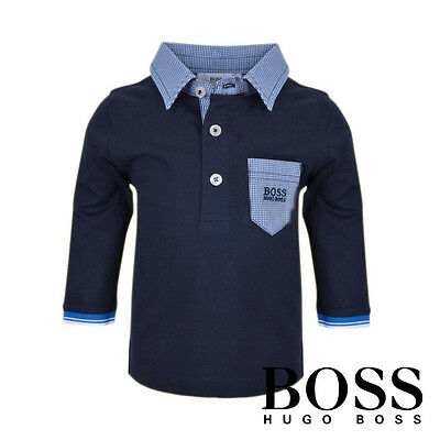 Hugo Boss Baby Boy polo shirt with Pocket Front | Navy Blue 100% Cotton