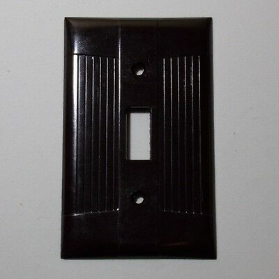 EAGLE USA Switch plate Vintage NOS mid century ribbed brown bakelite