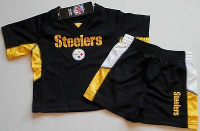 PITTSBURGH STEELERS BABY TODDLER JERSEY SHIRT SHORTS SET 12 18 24 mos POLYESTER
