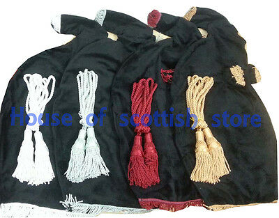 Scottish Highland Bagpipe Velvet Bag Cover & Silk Cord / Chose any one you like.