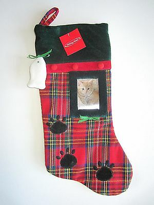 xmas stocking red Plaid Holiday Puppy dog Paw Cat  fish picture frame Cute  NWt