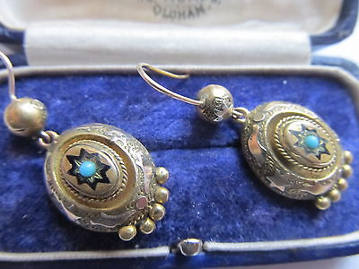 ANTIQUE VINTAGE  EARRINGS 1880-1901 TURQUOISE and GOLD FINESSE ON BRASS UNUSUAL