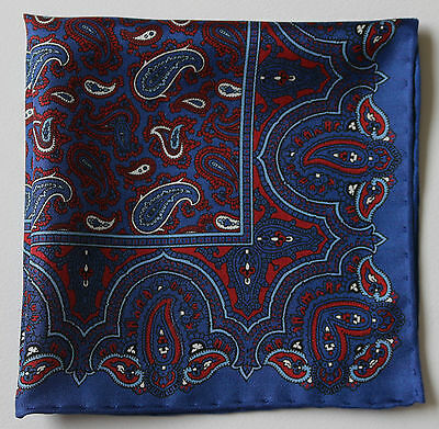 Blue Paisley silk pocket square. Hand rolled edges. 30cm Made in England. New
