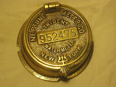 vintage Neptune Meter Co. Trident Water Meter cover # 952475 New York early old