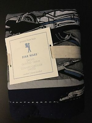 Pottery Barn Kids STAR WARS DROID X WING FIGHTER Quilted Pillow Sham Standard NW