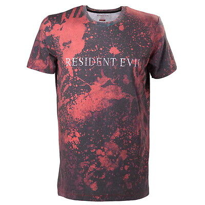 OFFICIAL Resident Evil Logo Sublimated Print Red Mens T-Shirt Top (NEW)