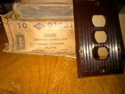 Brown (Bakelite?) P+S Iniline, antique switch/receptacle plate, triple opening,