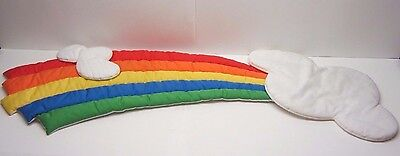Vintage Quilted Cheerful Rainbow & Clouds Wall Hanging Care Bear Theme