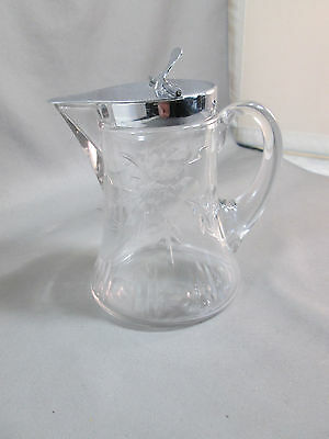 Vintage HEISEY SYRUP PITCHER Marked Silver Lid Large Etch 2 Sides Around Bottom
