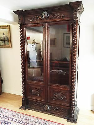 Antique Victorian Carved Oak Green Man Gothic Bookcase Cabinet