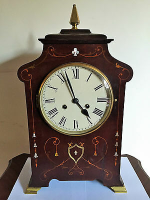 Antique Inlaid Mahogany Large 8 Day Mantle Clock c1890