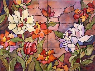 Floral Tile Backsplash McEachron Flower Art Ceramic Kitchen Mural RW-AM011