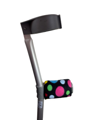 Padded Handle Comfy Crutch Covers/pads - Black Rainbow Spots