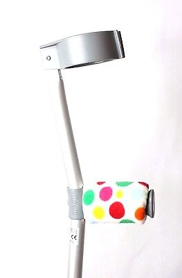 Crutch Handle Padded Covers HIGH QUALITY Cushioned Foam - White Rainbow Spots