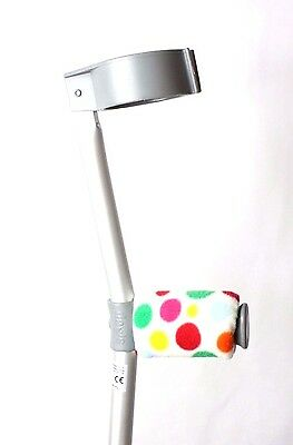 Padded Handle Comfy Crutch Covers - White Rainbow Spots