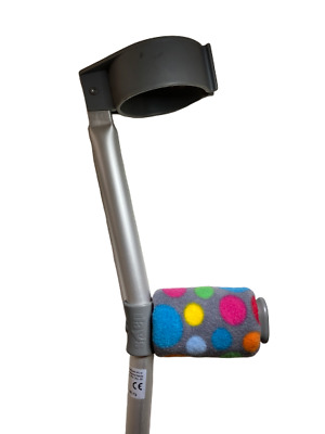 Crutch Handle Padded Covers HIGH QUALITY Cushioned Foam Pad - Grey Rainbow Spots