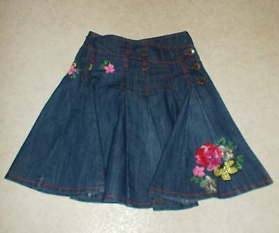 Next Age 5 Years (110cm) Dark Blue Denim Skirt with Floral Embroidery Detail