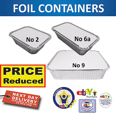 Aluminium Foil Food Containers+Lids Perfect For Home And Takeaway Use