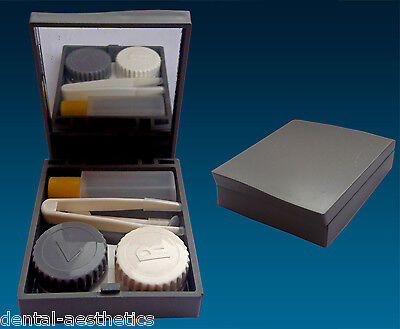 Contact Lens Travel Kit Case ~ Grey ~ Mirror Tweezers & Lenses Solution Set
