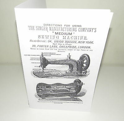 Singer Medium 13 13K Sewing Machine Instruction Manual Reproduction