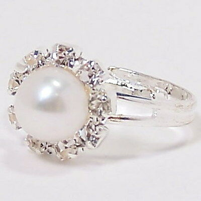 White Cream Genuine Freshwater Pearl Silver Fashion Ring New Size Adjustable