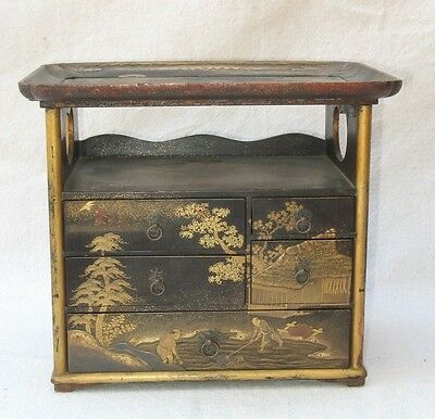 Antique 19th Century Japanese Makie Lacquer Cosmetic Case or Chest