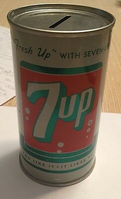 Vintage 7up can bank from 1960
