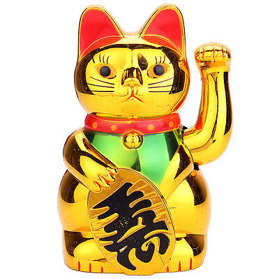 6in Chinese Lucky Waving Golden Cat Figure with Moving Arm Fortune Decoration