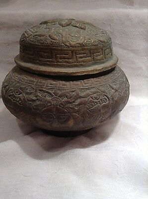 Antique Asian Incense Burner Covered MUST SEE Metal Very Detailed !!!