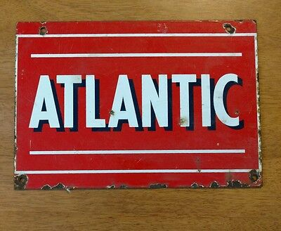 "VTG ATLANTIC Oil Gas Station Old Porcelain Metal Gas Pump Plate Sign 9"" x 13"""
