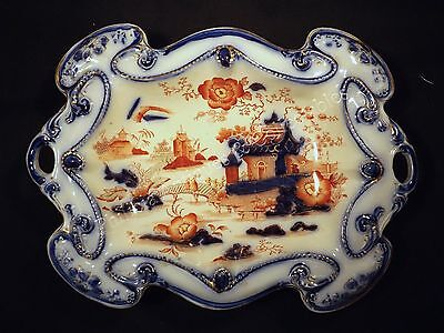 1870's/80's Lge Staffordshire Tab Handled Bowl Amari Colours Chinoiserie Pattern