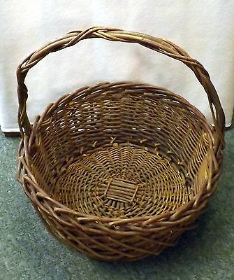 Large Vintage Round Woven Wicker Basket