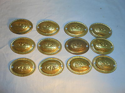 Antique vintage brass drawer pull back plates lot of 12 fruit design #3