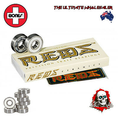 2 X 8 BONES CERAMIC SUPER REDS BEARINGS 8mm for SKATEBOARDS/SCOOTERS